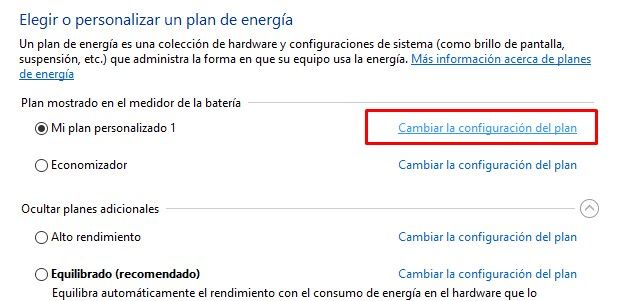 Change power plan settings in Windows 10
