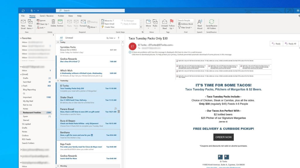 delete Outlook 2 dated emails