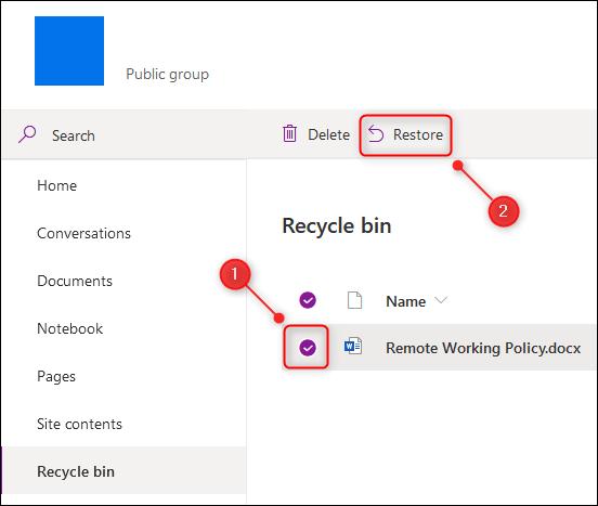 Récupérer des fichiers supprimés de Microsoft Teams