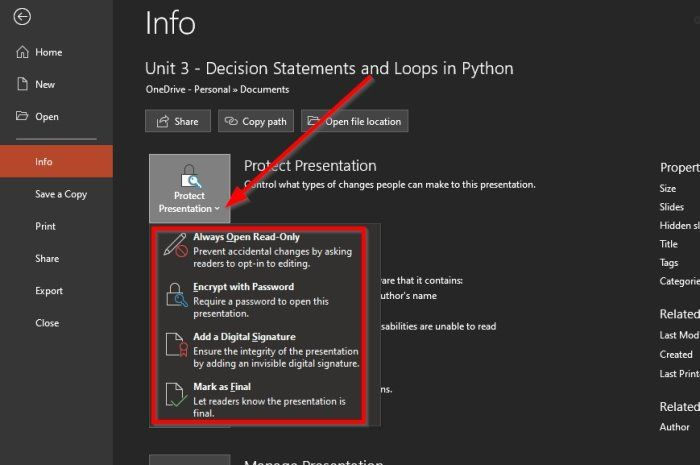 Protect PowerPoint document
