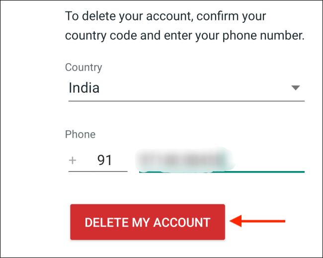 Click the delete my account button