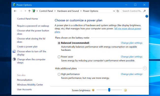 Change screen brightness from Windows Control Panel