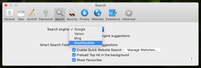 Configure any search engine in Safari.