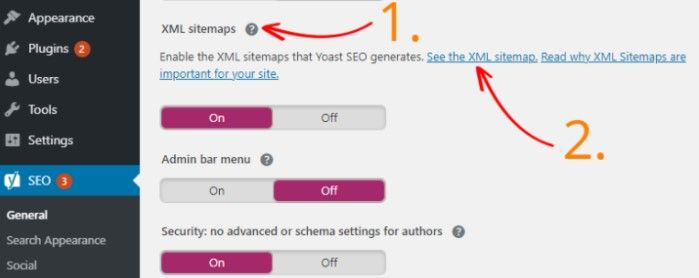 Activate the sitemap in WordPress Yoast SEO
