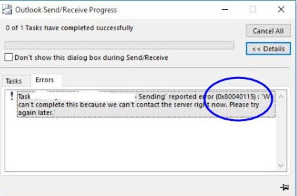 How to fix Outlook Error 2 0x80040115