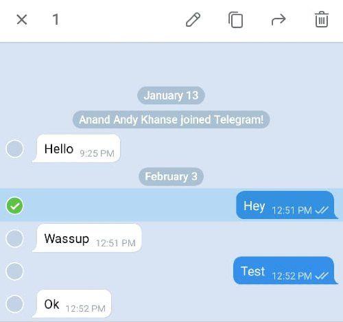 Modifier les messages envoyés depuis Telegram sur Android