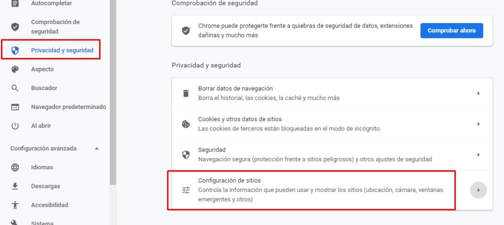 Google Chrome privacy and security, site settings.
