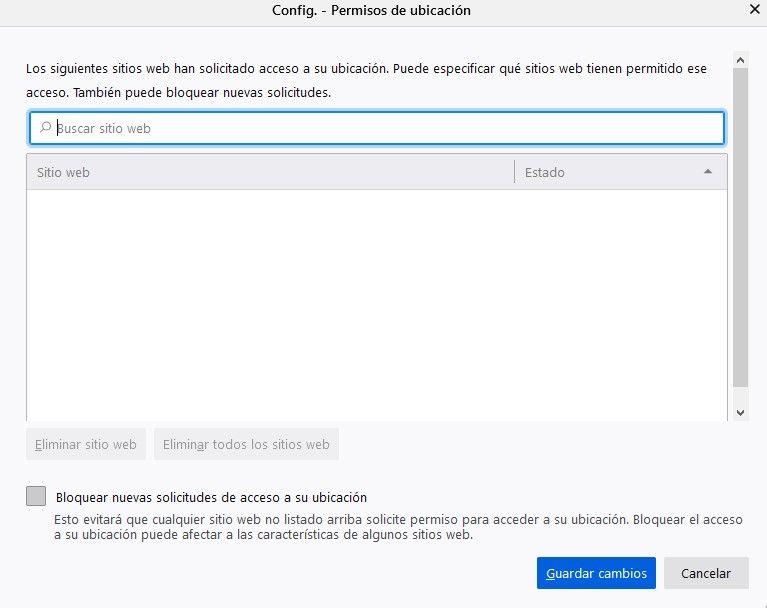 Location permissions in Mozilla Firefox.