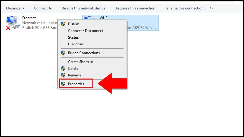 Right click on network connections and we click on properties.