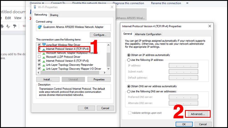 We enter the Internet version 4 TCP IPv4 properties.