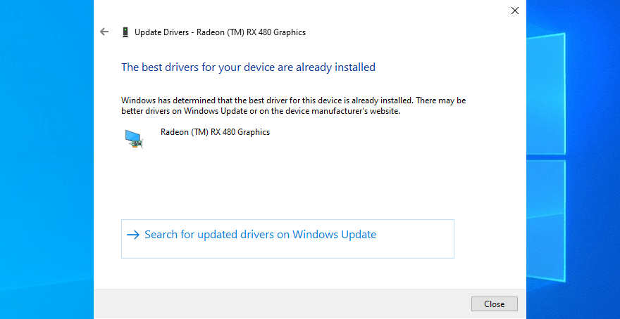 Automatically check for updated driver software