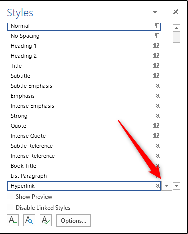 How to remove underline from hyperlinks in Word.