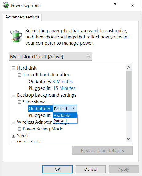 Activate the slideshow when the laptop is on battery power.