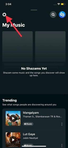 We click on Shazam settings.