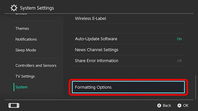 Here we can find the option to format, restart or reset Nintendo Switch.