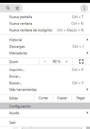 Go to Google Chrome settings