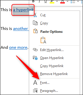 We select the hyperlink to which we want to remove the underline.
