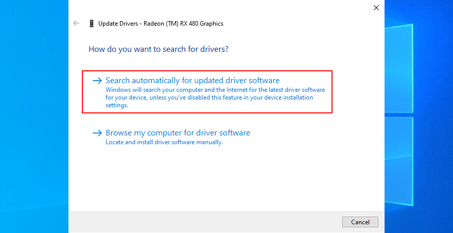 Check for driver update in Windows 10.