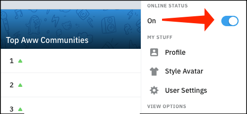 Here we can hide our online status on Reddit.