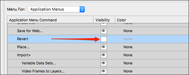 We hide all Photoshop menu items that we don't want to see.