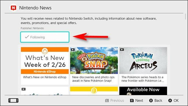 Stop following a channel on Switch.