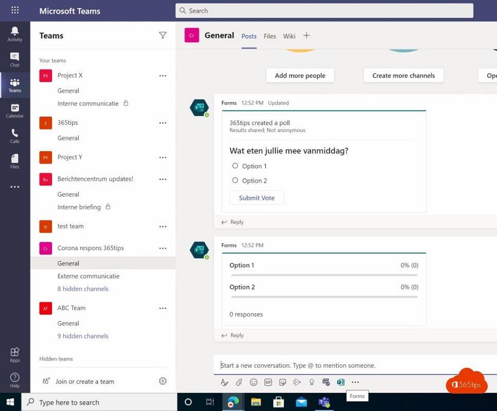 Microsoft Teams 2 surveys