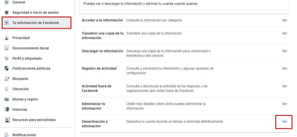 Deactivation or deletion of a Facebook account.