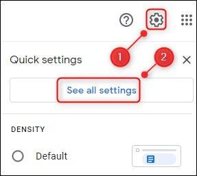 All Gmail options in settings.