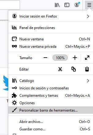 Firefox customization options.