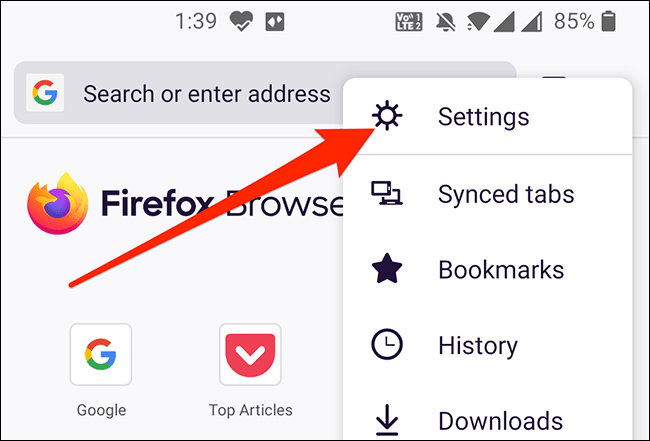Let's move on to Firefox settings.