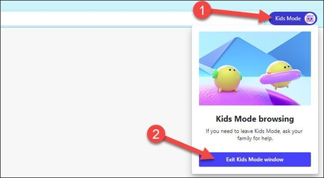 How to get out of kid mode or kid mode in Edge.