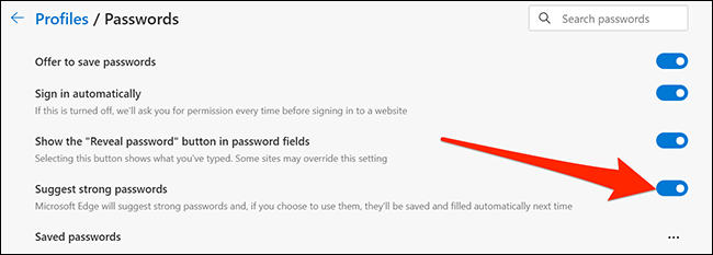 From there, we can enable or disable password hints in Edge.