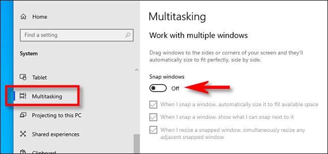 Turn off multitasking.