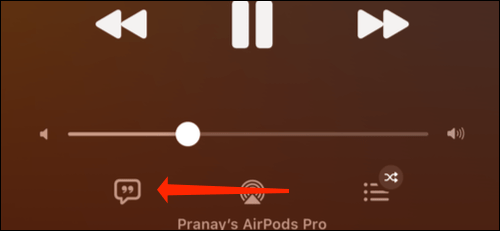 We click on the song lyrics icon.