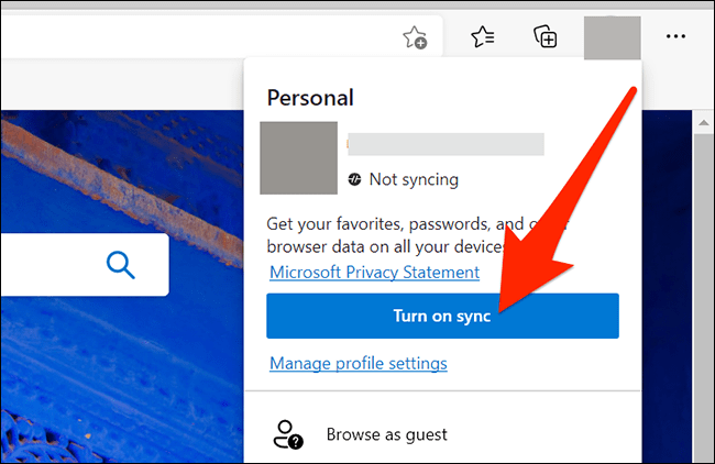 Account sync in Microsoft Edge.