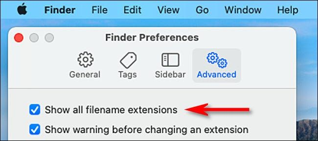 Show all file extensions on Mac.