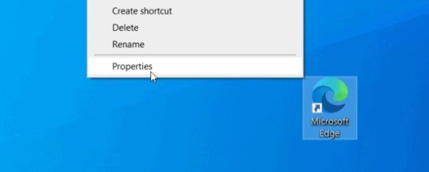 Right click on browser properties.