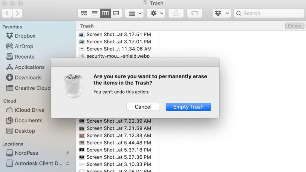 delete warning 2 from Mac Trash