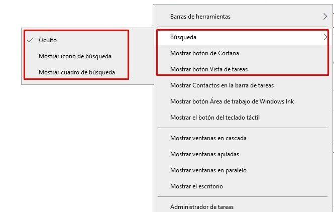 Hide the Windows 10 search box.