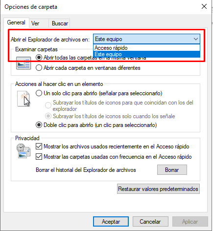 Drop-down menu to open the file explorer on this computer.