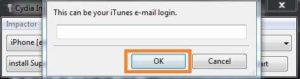 Entrez votre identifiant Apple pour charger latéralement Tinder iPA