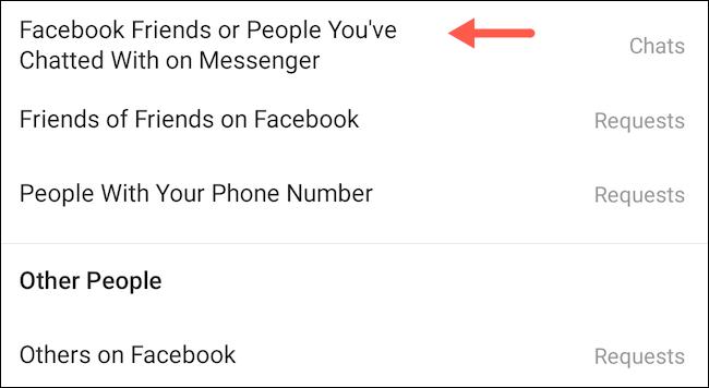 Amis Facebook ou personnes avec lesquelles vous avez discuté sur Messenger