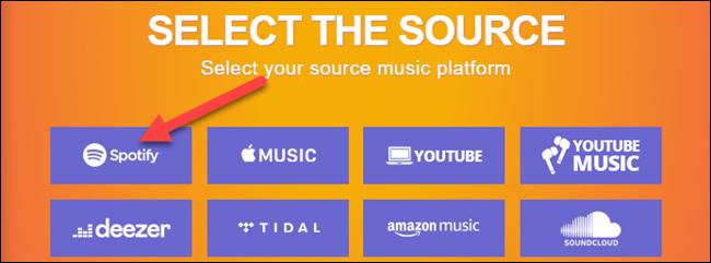Nous sélectionnons Spotify.