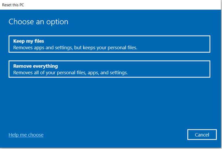 Keep the files or delete them.  In this way, we can restore Windows 10 to factory values.