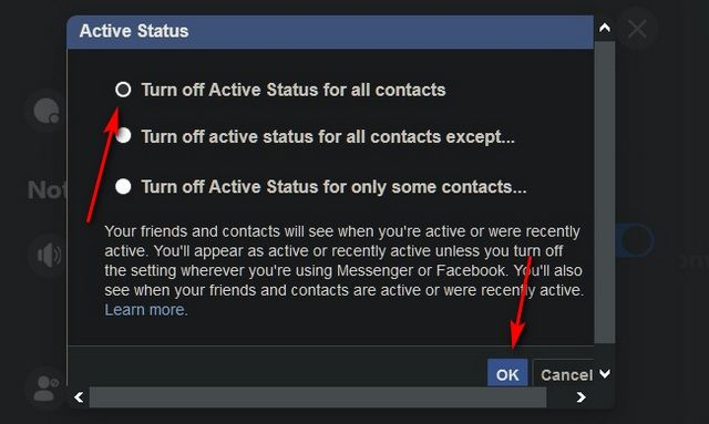 hide Facebook active state on PC