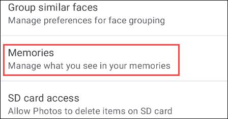Souvenirs de Google Photos.