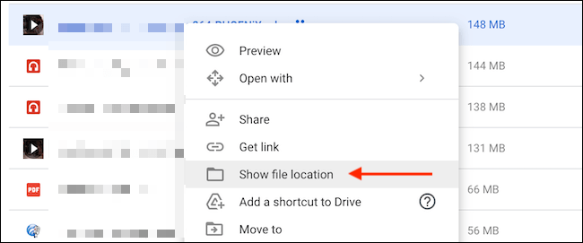 Show the location of the file.
