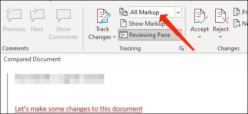 Marquez toutes les révisions d'un document dans Word.