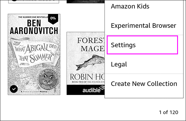 Settings to reset the Kindle.