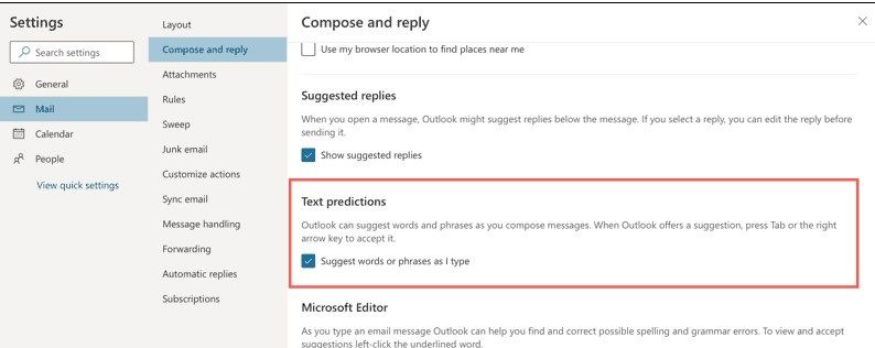 Turn on Outlook predictions on the web.